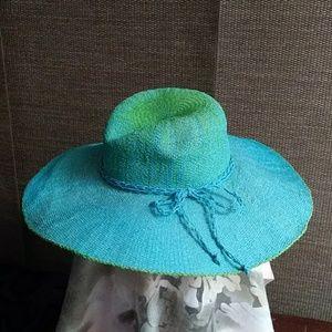 Sun/beach hat blue & lime green